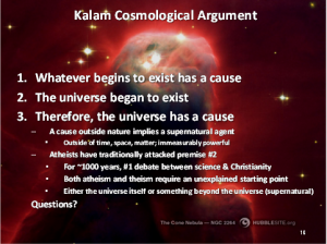 Modern rendition of the Kalam Cosmological Argument
