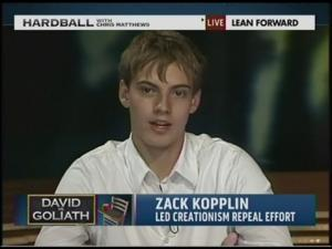 Evolution Defender, Zack Kopplin